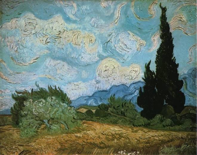 Paysage avec Cyprès et arbres en fleurs pinxit Vincent Van Gogh (1853-1890)